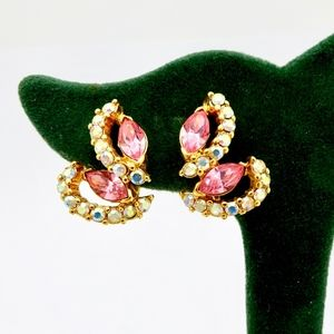 TRIFARI GOLD RHINESTONE BUTTERFLY CLIP ON EARRINGS